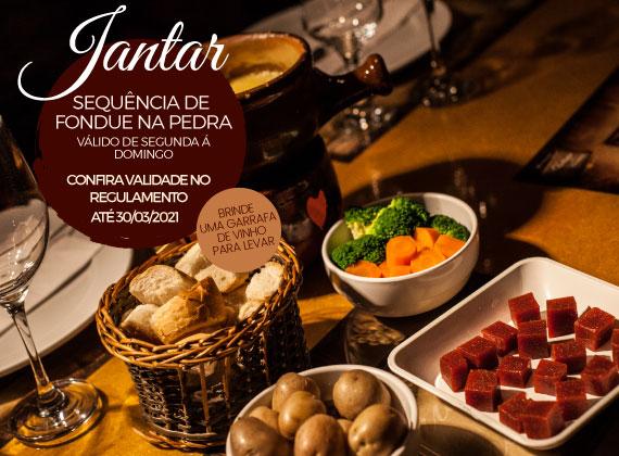 Jantar de segunda a domingo - Sequencia de Fondue na Pedra para 02 pessoas de R$158,00 por apenas R$99,80