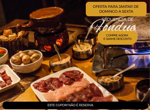 Jantar de domingo a sexta - Sequencia de Fondue na Pedra para 01 pessoa de R$90,00 por apenas R$59,90